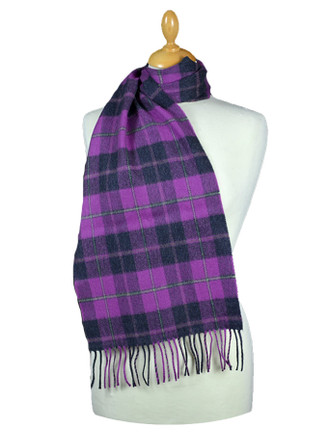 Fine Merino Plaid Scarf - Charcoal Purple