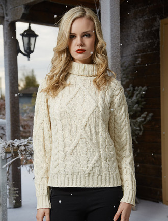 Aran Cable Merino Turtleneck Sweater