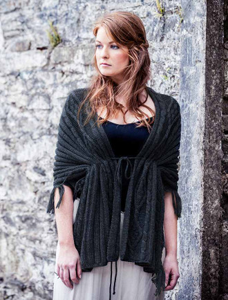 Wool Fringe Cape Shawl - Charcoal