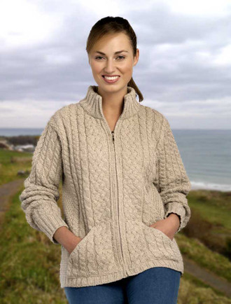 Kangaroo Pocket Zip Cardigan - Parsnip