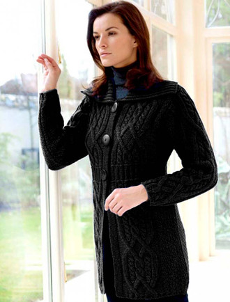 Collar Cardigan with Banded Waist - Black