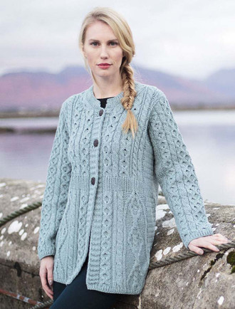 Women's Merino Wool A-Line Fit Cardigan - Misty Blue