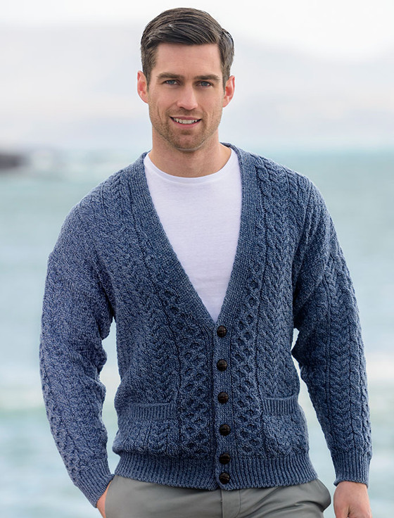 Merino Wool Aran Men's V-Neck Cardigan - Denim
