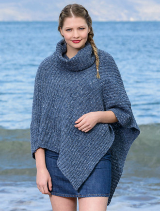 Merino Wool Poncho with Collar