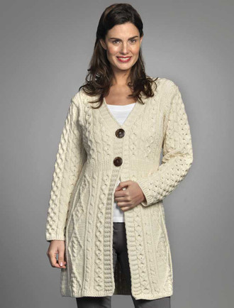 Women's V-Neck Long Merino Cardigan