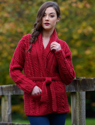 Shawl Collared Belted Cardigan