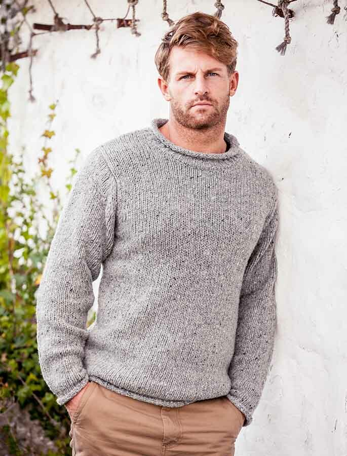 Fisherman Knit Sweater Pattern : Roll Neck Sweater Men, Aran Fisherman Sweater, Mens