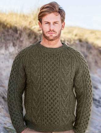 Mens Handknit Honeycomb Stitch Sweater
