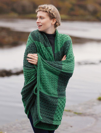 Two-Tone Aran Patchwork Throw - Kiwi/Connemara