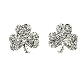 Rhodium Plated Crystal Shamrock Drop Earrings