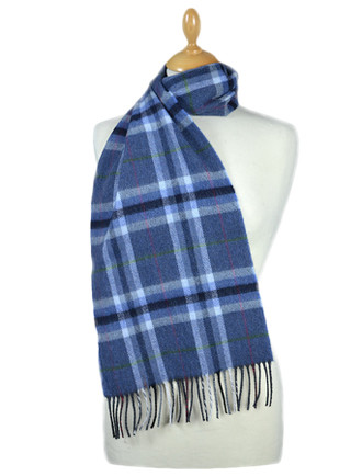 Fine Merino Plaid Scarf - Denim