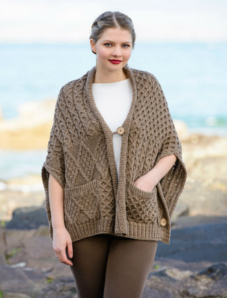 Merino Wool Button Shrug - Brown