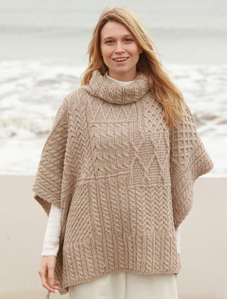 Merino Wool Patchwork Poncho with Collar - Wicker