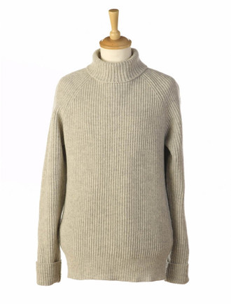 Ribbed Wool & Cashmere Turtleneck Sweater