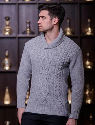 Wool & Cashmere Shawl Neck Sweater