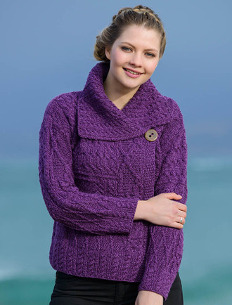 Patchwork Cardigan with Collar - Purple