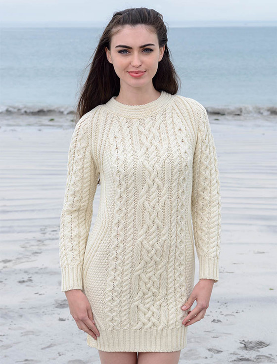 Aran Jumper Dress Knitting Pattern : Irish Sweater Dress, sweater dress, wool sweater dress
