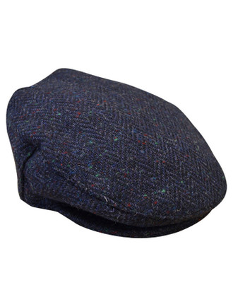 Tweed Flat Cap - Blue