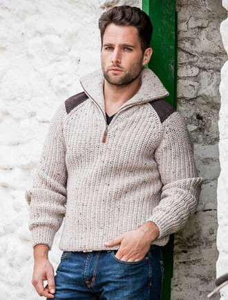 Fisherman's Half Zip Sweater with Patches - Skiddaw