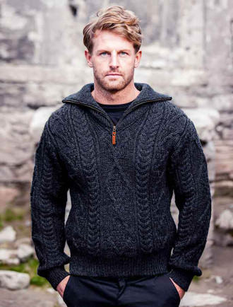 Aran Sweater with Zip Neck