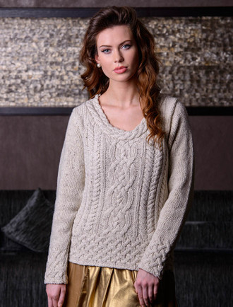 Luxury Aran Plaited Neck Sweater