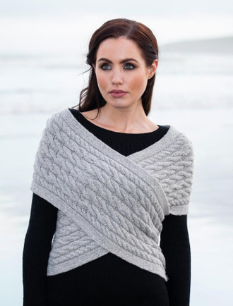 Cable Knit Wrap Top with Buttoned Side