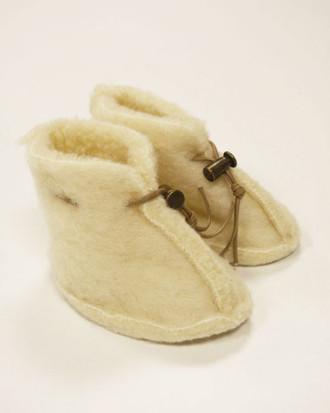 Merino Wool Baby Booties - Natural White