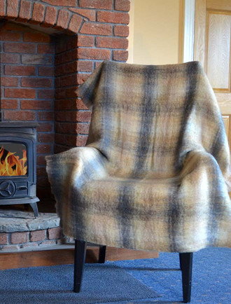 Mohair Plaid Knee Throw - Beige Grey Brown