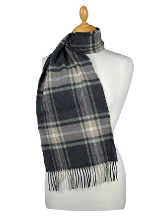 Fine Merino Plaid Scarf - Charcoal Tan Green