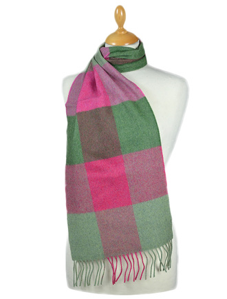 Fine Merino Check Scarf - Watermelon Pink Green