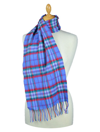 Fine Merino Plaid Scarf - Blue Red Green