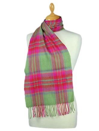 Fine Merino Plaid Scarf - Green Pink Red
