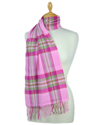 Fine Merino Plaid Scarf - Pink Green