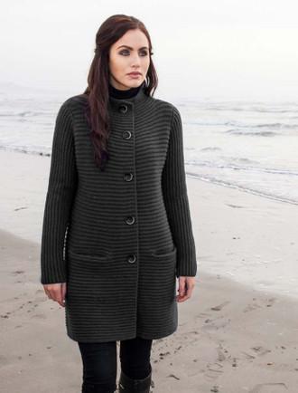 Wool & Cashmere Ribbed Coatigan
