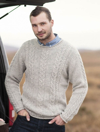 Mens Cable Knit Tunic Sweater - Fisherman Sweater