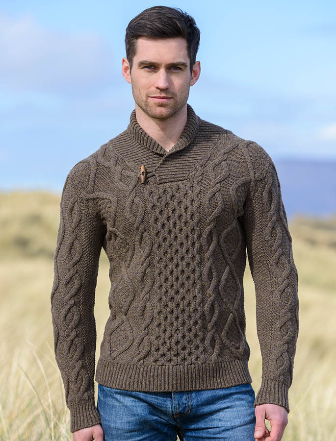 Aran shawl neck sweater shawl collar fisherman sweater for Mens sweater collared shirt