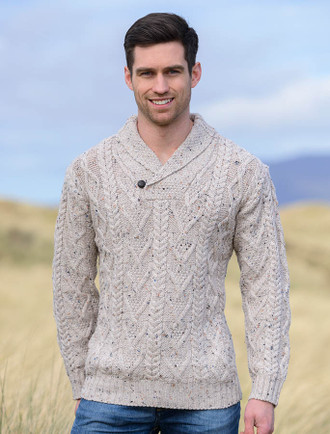 Shawl Collar Sweater - One Button Fisherman Sweater - Oatmeal