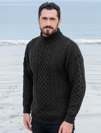 Merino Aran Turtleneck Sweater