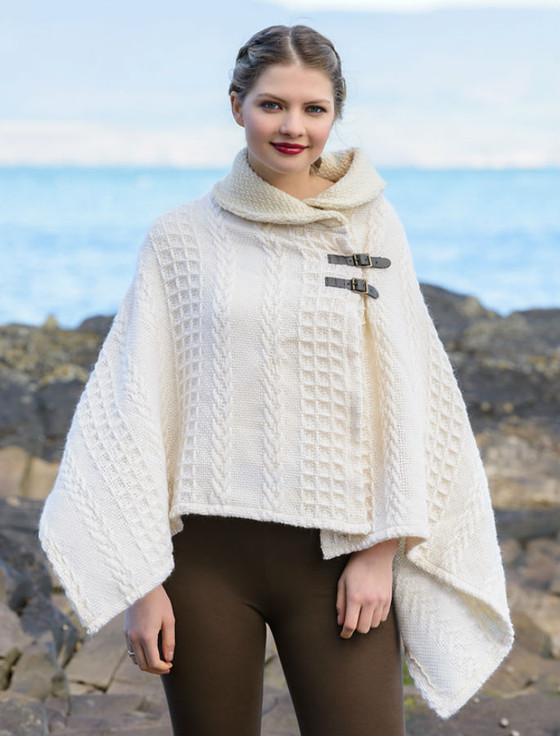 Knitting Pattern Poncho With Collar : Shawl Collar Poncho, Shawl collar cape Aran Sweater Market