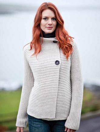 Wool & Cashmere Horizontal Ribbed Cardigan - Oatmeal
