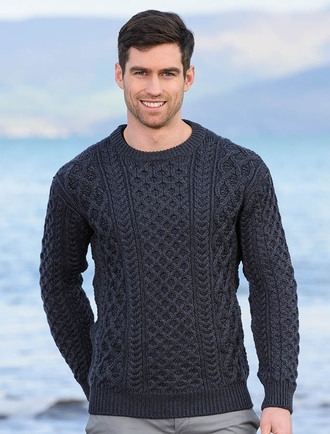 Mens Blasket Aran Sweater - Navy Marl