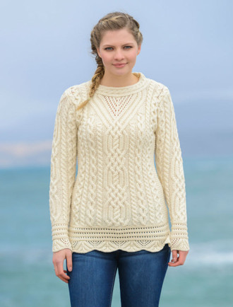Aran Tunic Sweater with Scallop Lace - Natural White