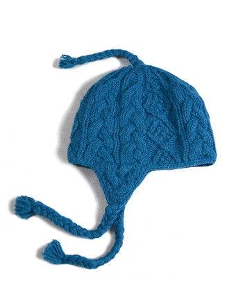 Kids Aran Cable Fleece Lined Hat with Ear Flaps - Blue