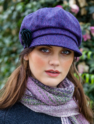 Ladies Tweed Newsboy Hat - Dark Purple