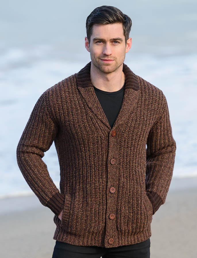 Mens Shawl Collar Sweater Knitting Pattern : Ribbed Two-Tone Shawl Collar Cardigan