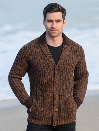 Ribbed Two-Tone Shawl Collar Cardigan - Chestnut
