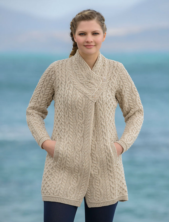 Crossover Cardigan Knitting Pattern : Aran Cable Crossover Neck Coat