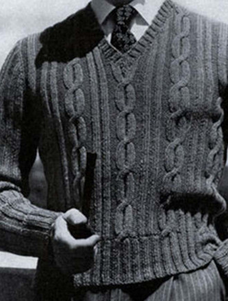 Vintage Pattern: Men's Large Cable Sweater