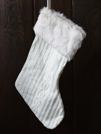 Knit Christmas Stocking with Fur