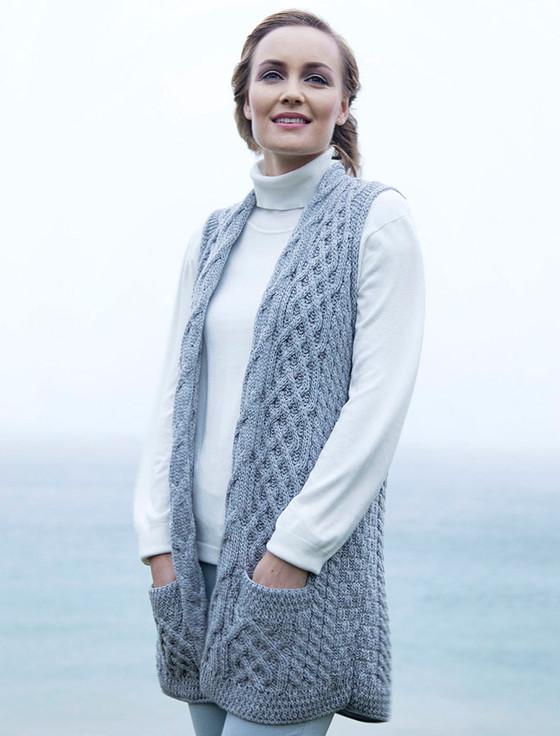 Cable Aran Waistcoat Ladies Wool Waistcoat Sweater Vest